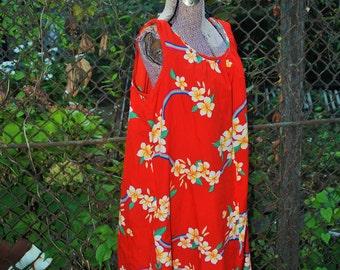 Vintage 1980s Hilo Hattie Red and Rainbow Hawaiian Muumuu Beach House Dress L/XL