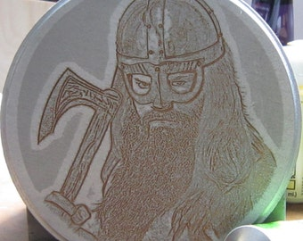 Laser engraved wooden plaque with image of a Viking SILVER
