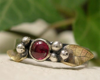 Mixed Metal Ring, Brass & Sterling Silver Ring, Red Garnet Gemstone January Birthstone Ring, Leaves and Berries Woodland Ring Nature Jewelry