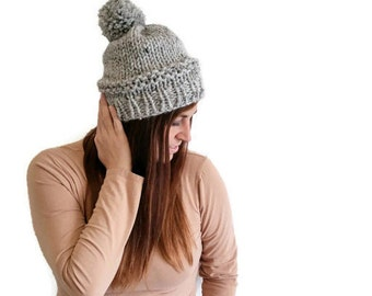 CLEARANCE SALE - Chunky Handknit Pom Pom Beanie in Grey , gift for teen, winter hat, knitted hat, womens accessories, christmas