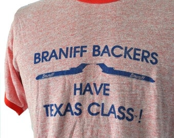 Rare Early 80s Ringer Tshirt Tee Vintage Dallas Texas Tx Braniff Airlines Airplanes Aviation Heather Red  LARGE