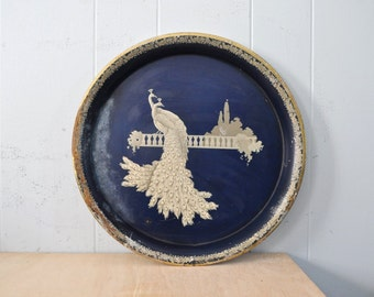 Distressed Rustic Vintage Serving Tray Tin Elegant Peacock Navy Blue Tan Victorian Design Artwork