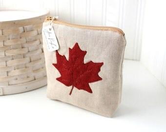 Autumn Maple Leaf Linen Zipper Pouch Medium Zipper Pouch Cute Zipper Bag Linen Pouch