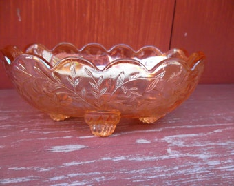Vintage Jeannette Iridescent Carnival Marigold Footed Oval Bowl Floragold Louisa Pattern