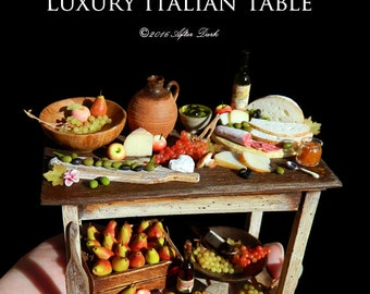 Luxury Rustic Italian Table - Artisan fully Handmade Miniature Dollhouse Food in 12th scale.