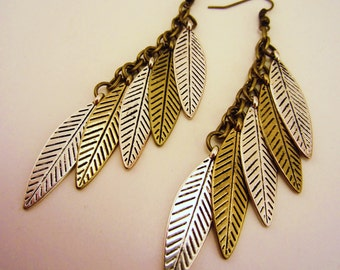 Feather earrings. Dangle earrings, long. Mixed metal, silver and gold. Native American inspired, earthy, natural. Antique toned.