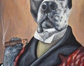 16x20 Custom painted pet portrait sample in COSTUME or OUTFIT size 16x20