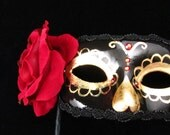 Dama de Oro Mask, Gold and Black with Red Rose and Rhinestones Day of the Dead/Dia de los Muertos Style Eyemask