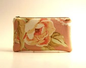 BLACK FRIDAY - Peach Floral Pouch, Padded Pouch, Clutch, Pencil case, Cosmetic pouch - Simple Pouch in floral peach  fabric