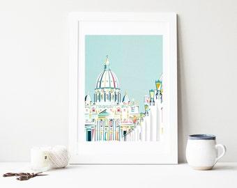 Vatican Rome Art print, Italy - European Skyline, Cityscape, Religious, Baptism, Art Print, Poster. For home, office, nursery
