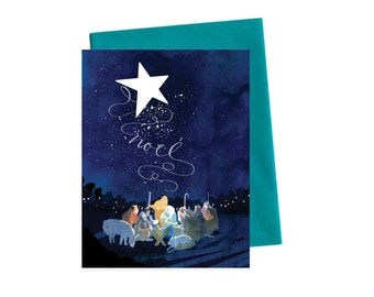 Christmas Card Nativity, Modern O Holy Night Noel Greeting Card