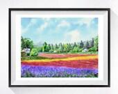 1. Landscape Art / Watercolor Print / Farm house countryside / Flower floral pink painting / Landscape Fine art colorful wall decor 11x14 L