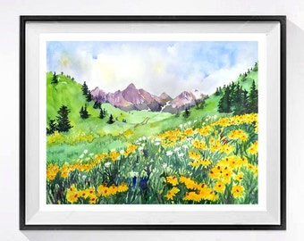 Landscape Art watercolor print Mountain artwork wild flower wall art green painting paintingyellow floral painting lavender mountains A