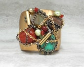 SALE Gold Metal Cuff with Wire Wrapped Multi Colored Semi Precious Gemstones (Chrysophrase & Carnelian) Center Sharona Nissan