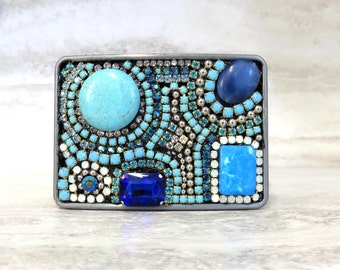 Turquoise Rhinestone Buckle -Native American Inspired Women's Belt Buckle in Turquoise & Black