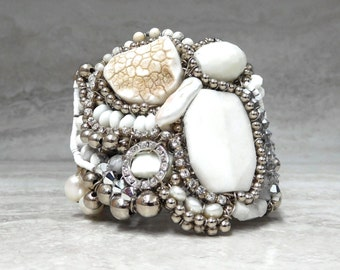 Unique Cuff Bracelet with White Semiprecious Stones & Rhinestones-Handmade Luxury Gifts for Women by Sharona Nissan (Limited Edition)4036b