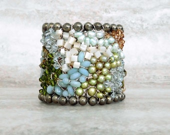 Unique Cuff Bracelet-Large Statement Cuff Wire Wrapped with Semi precious Beads in Blue & Green Beach Watercolors by Sharona Nissan OOAK