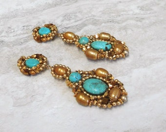Huge Chandelier Clip On or post back Earrings-Oversized Estate Statement Earrings  by Sharona Nissan (Available in turquoise, gold and more)