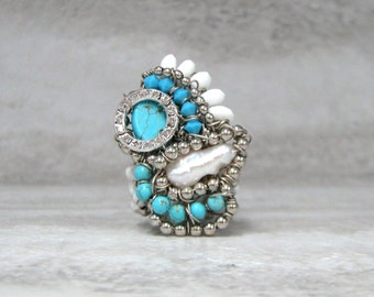 Large Ring in Turquoise, White, & Silver- Unique Statement Ring Wire Wrapped by Sharona Nissan (Sample Sale Size 6.5)