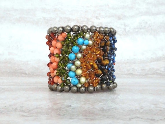 Friendship Cuff Bracelet-Multi Color Beaded Wired Cuff with Rainbow Colored Semi Precious Turquoise & Coral (Watercolors by Sharona Nissan)