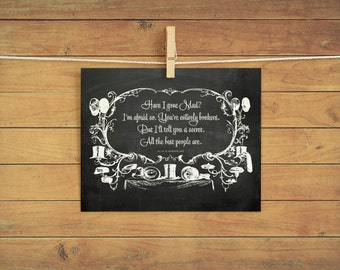 Mad Hatter instant download printable wall art 8x10 - Alice in Wonderland, Book Poster, Chalkboard style