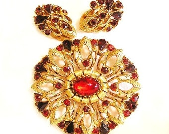 Florenza Garnet and Ruby Red Brooch and Earring Set Demi Parure