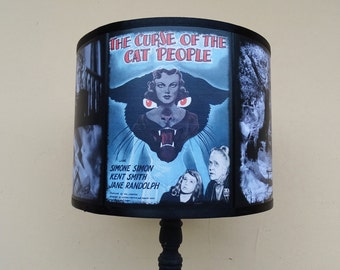 The Curse of the Cat People blue lamp shade Lampshade - Halloween, lighting, classic horror movies, Spooky Shades, film noir, movie poster