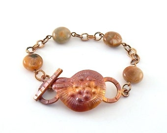 Copper Shell Bracelet - Metal Bracelet - Antique Copper Bracelet - Agate Coin Bead Bracelet - Patricia Healey Bracelet - Copper - B016