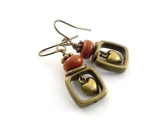 Brick Red Heart Earrings - Brass Earrings - Red Earrings - Lampwork Earrings - Antique Brass Earrings -Boho Earrings - Brass Jewelry - E072