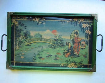 Exquisite Vintage Glass Top Tray - Japanese Motif - Lovely Green - Ornate Hardware