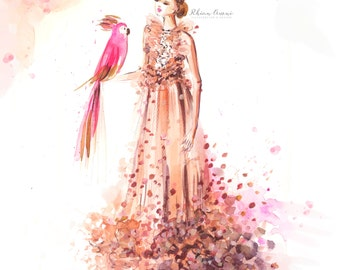 Custom Fashion Illustration - Watercolor Portrait, Bridal Illustration, High Couture, Engagement Gift, Drawing, Art by Reani on Etsy