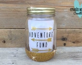 Adventure Fund Mason Jar Savings Bank with Gold Glitter and Arrows