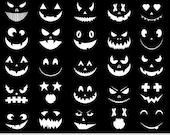 White Pumpkin Clipart Halloween Clipart Pumpkin Carving Stencil Monster Faces Clipart Spooky Scrapbooking Jack O Lantern Silhouette