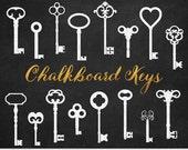 Chalkboard Keys Clipart White Key Clip Art Steampunk Digital Keys Invitations Stamp Scrapbooking Silhouette Clipart