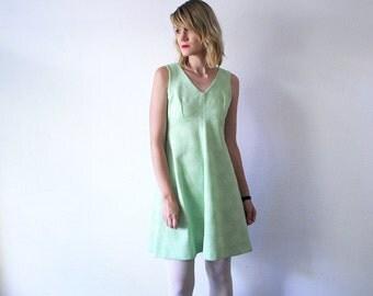 60s a line dress. pastel crimplene dress. sleeveless dress. salad green dress - medium