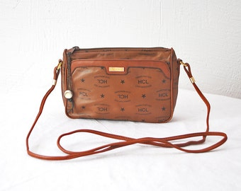 Authentic HCL logo print leather purse. 80s small leather bag. crossbody bag. shoulder purse