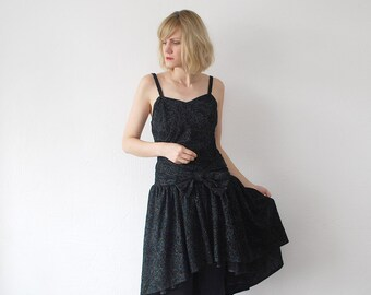 80s gothic party dress. tulle dress. black bustier dress. sparkle dress - medium