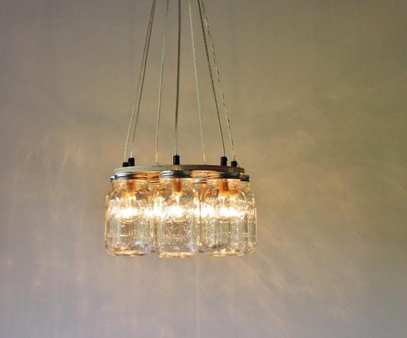 Mason Jar Chandelier, Hanging Mason Jar Lighting Fixture, Ring With 7 Clear Quart Jars, Bulbs Included