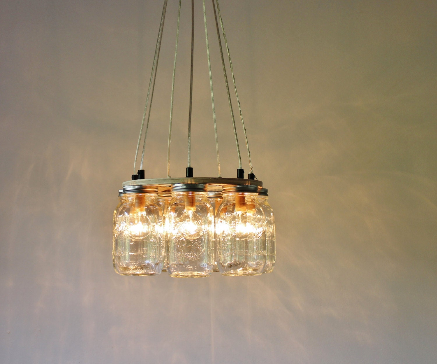 mason jar chandelier hanging mason jar lighting fixture ring. Black Bedroom Furniture Sets. Home Design Ideas