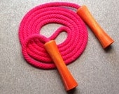 Hand-dyed jump rope, bright pink with orange wooden handles