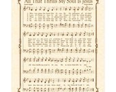 ALL THAT THRILLS My Soul - Custom Christian Home Decor - VintageVerses - Sheet Music - Hymn Wall Art - Inspirational Wall Art - Sepia Brown