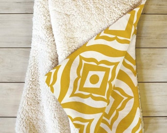 Yellow Fleece Sherpa Throw Blanket // Home Decor // Geometric // Dorm Decor // Trevino Gold Design // Modern Home // Cozy Blanket