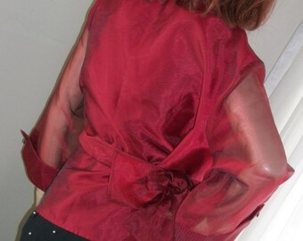 1930s Style Deep Garnet Red Organza Blouse Wrap Jacket Top Orig Design One Size Gorgeous