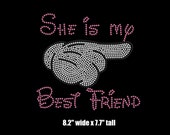 """8.2"""" Mickey hand Best Friends (right) iron on rhinestone transfer your color choice"""