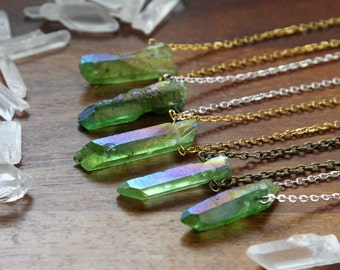 Leaf Green Angel Aura Quartz Crystal Point Necklace - Raw Layering Bright Natural Rough Gemstone with Silver / Gold / Vintage Brass Chain
