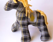 """Stuffed Horse Plush, 10"""" tall, 11"""" wide in slate gray, yellow and white plaid flannel, Horse Stuffed Animal Baby Friendly Toy"""