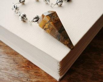 Tigers Eye Pendulum with Wire Wrapped Beaded Chain . Tiger's Eye Stone Dowsing Pendulum. Metaphysical Tiger's Eye Stone Pendulum