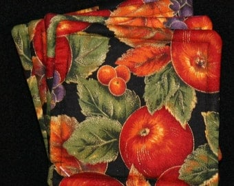 Coasters, cloth, apples, grapes, square