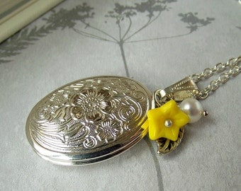 Silver locket necklace, flower locket, yellow flower necklace