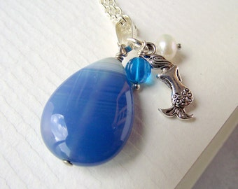 Mermaid necklace, blue agate necklace, blue stone necklace, charm necklace